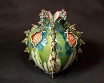 One of a Kind Handmade Crystalline Glazed Blue Green White Orange Red Throne Bug Treehopper Catapillar Ceramicgoddess Art Pottery Vase