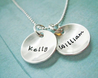 Sterling Silver Mothers Necklace Custom Children - In This Together - Customizable silver Necklaces Round High Quality Personalized stamped