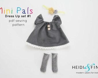 NEW Mini Pals DRESS UP set #1 soft rag doll sewing pattern toy softie stuffed doll dress pants socks hat