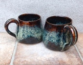 Pair of cuddle mugs coffee tea cup wheelthrown in stoneware ceramic pottery