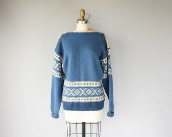 Vintage 1960s Wool Pullover Sweater | 60s Sweater | Blue 1960s Sweater | 60s Ski Sweater | Boatneck Sweater | Intarsia Sweater