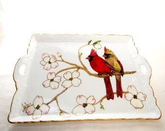 Cardinal Serving Tray Hand Painted Porcelain Platter Cardinal Serving Accessory Art Tray
