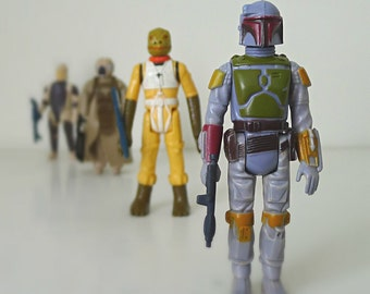 Star Wars Figures - Boba Fett, Bounty Hunters From Empire Strikes Back - 70's & 80's Kenner Star Wars Toys Complete w/ Original Weapons