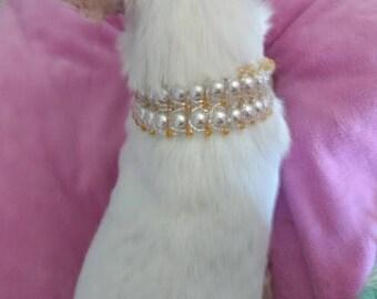 Swarovski pearl dog choker