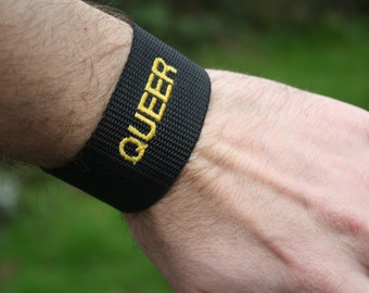 Identity Wristband- Embroidered webbing wristband or bracelet, with identities- Queer LGBT Jewellery Accessory. Butch, Femme, Feminist, Girl
