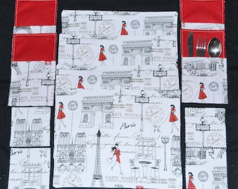 12 Pce French Couture Triple Layer Cotton Table Placemats  Drink Coasters Cutlery Pouches Set