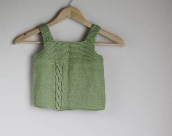 Child Cotton Knit Tank Top, Knitted sweater, Pima cotton top, child cardigan, child sweater, heirloom wear, cool weather wear