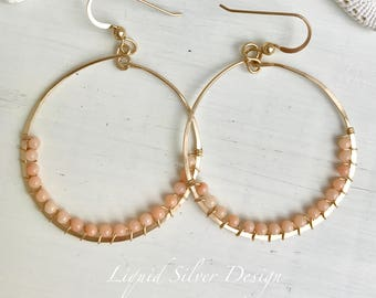 14k gold filled hammered hoop earring delicate pink coral bead. Made in USA Hawaii. Gift bff gf mother bride bridesmaid wedding beach