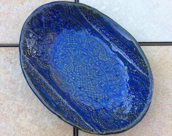 Decorative Stoneware Bowl Blue Ceramic Trinket Dish Oval 5 by 7 inches