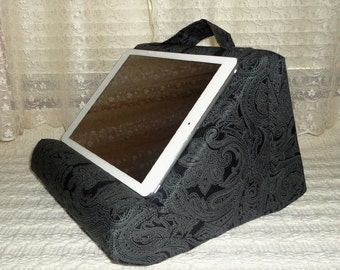 iPad Stand / Book Stand Padded For Your Lap / Black Plaisley #iPadPillow