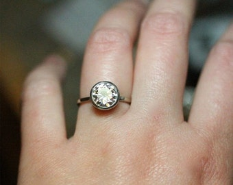 Holidays Sale - 8mm Forever One Moissanite 14K Gold Engagement Ring, Stacking Ring, Wedding Ring, Solitaire Ring - Made To Order