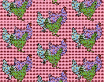 Chickens and Hearts fabric