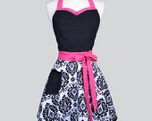 Sweetheart Retro Apron . Womens Pink and Black Damask with Polka Dot Cute Flirty and Sexy Woman Retro Hostess or Wedding
