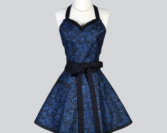 Sweetheart Retro Apron , Womans Elegant Black and Blue Floral Damask Vintage Style Full Kitchen Cooking Apron