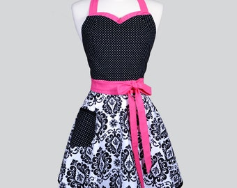 Sweetheart Womens Retro Apron . Hot Pink and Black Damask with Polka Dot Cute Flirty and Sexy Womans Hostess or Wedding Apron