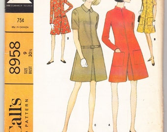 Vintage 1967 McCall's 8958 UNCUT Sewing Pattern Misses' and Junior Dress or Pantdress in Two Versions Size 9 Bust 30-1/2