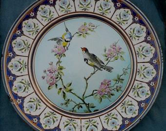 Hungarian Enamel Bird Platter Huge Wall Hanging Budapest J es H Ehrlich Hungary