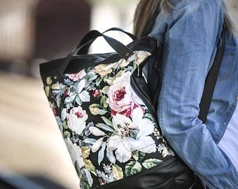 Backpack in black leather and floral canvas, simple backpack bag everyday bag backpack laptop 13 back bag-The Minos Bag