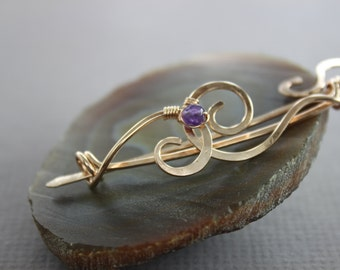Swirly bronze shawl pin or cardigan clasp with small amethyst stone - Fibula - Gold color pin - Brooch - SP037