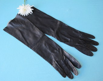 1960s Gloves 3/4 Length Softest Black French Kidskin Kid Leather Made in Philippines Size 7 Dressy