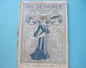 September 1903 Magazine The Designer Fashion & Needlework Edwardian Styles Hats Recipes Corsets Advertising Jewelry Color Plates Women Child