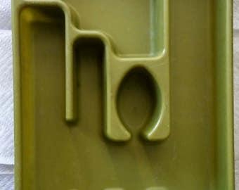 Vintage 1970s Rubbermaid Flatware Tray, Avocado Green, Utensil Holder, Flatware Organizer, Drawer Organizer