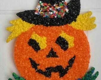 Vintage Halloween Jack O Lantern Pumpkin King Melted Popcorn Plastic, Wall Hanging, Door Decor, Window Hanging