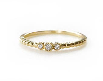 Gold Midi Ring with CZ Accents | Midi Ring | Delicate Midi Ring