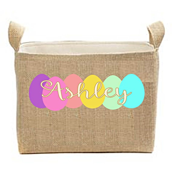 Children's Easter Baskets, Personalized Burlap Easter Bucket, large easter tote, monogrammed name, egg basket, egg bucket, bunny basket