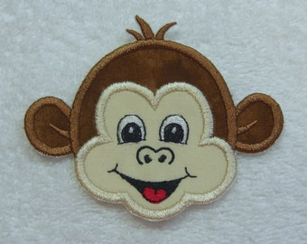 Cute Monkey Face Fabric Embroidered Iron On Applique Patch Ready to Ship
