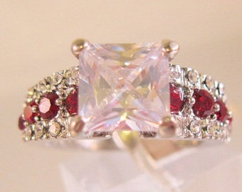 SALE ON Ends 4/30 3ct Princess Cut CZ & Red Stone Ring Size 8 Rhodium Plated with Original Tag Vintage Jewelry Jewellery