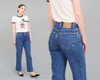 90s LEVIS Jeans, 550 Regular Fit Mom Jeans, High Waisted Jeans, Frayed Hem, 1990s Boyfriend Jeans XS S