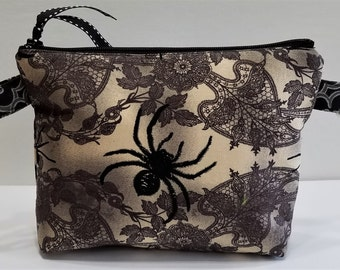 Can-Am Spyder zipper pouch in pretty lacy browns and spiders