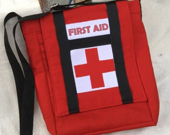 """Left 4 Dead Inspired Medkit!   Bright Red Pouch with Adjustable Strap. 10""""X 11"""" Messenger bag with Zippered Pockets"""