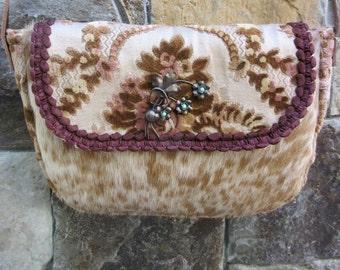 Vintage Velvet Chenille, Cowhide Handbag
