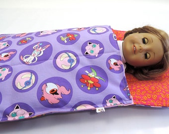 Pokemon 18 inch Doll Sleeping Bag fits American Girl Doll  18 inch doll bedding