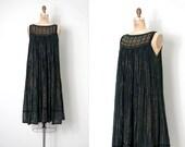 vintage 1970s dress / black and gold cotton gauze 70s dress / Greek Resort