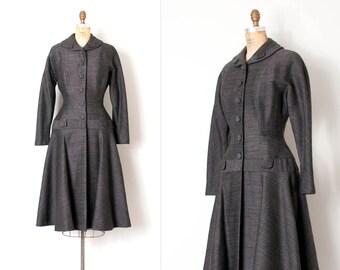 vintage 1950s princess coat / sharkskin grey wool 50s coat / French Riviera Dreams