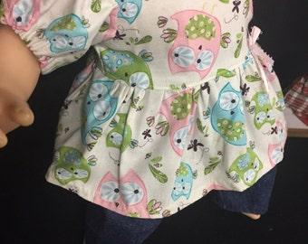 15 Inch Doll Clothes Owl Outfit Pink Owl Blue Owl Green Owl Green Forest Owl Owl Shirt Jeans Headband Fits Like Bitty Baby or Bitty Twins