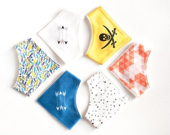 6 bib kit from organic cotton for boys. Set of organic fabric for 6 DIY bandana bibs. Cotton by the meter, by the yard. Baby shower gift.