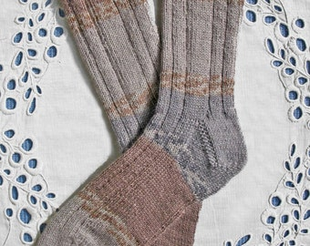 Beige Gray Tan Hand-Knit Wool Socks, Women Small-Medium Size, Superwash Yarn