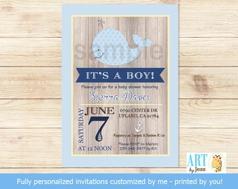 Rustic Little Whale Nautical Boy Baby Shower Invitatons (Navy Blue and Yellow) Print Your Own Digital | Personalized JPG or PDF bs-057