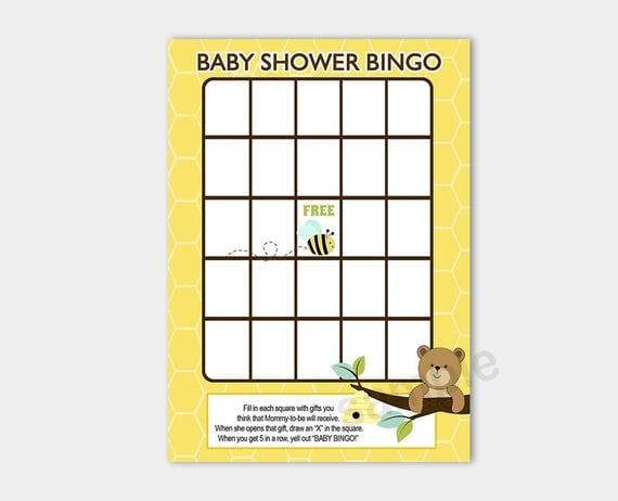 Honey Bear And Bumble Bee Baby Shower Bingo Game