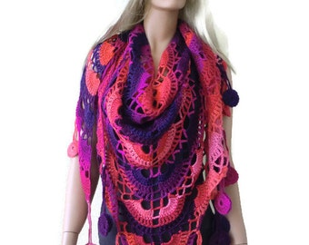 Sunset beach- Bohemian crochet scarf-Pink,purple,red and alittle orange-Super lacy Crochet scarf with fringes-Silk and mohair-Handmade