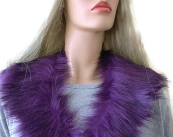 Fur collar Purple plum with darker shadesl-animal lover's fur-faux fur collar