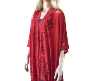Deep red Bohemian Lace Kimono -Dark deep red-Fringe kimono cardigan-Oversize kimono-Ruana style-only one