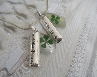 4 Leaf Clover White Cat's Eye Teardrop or Rectangle Pendant-Count Your Blessings Charm-Gifts under 30-Symbolizes Luck, Love, Hope, Faith