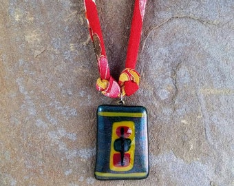 On Sale! Abstract Fused Glass Pendant on Colorful Japanese Chirimen Cord