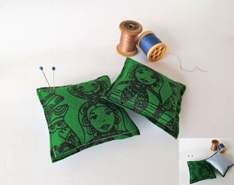 Recycled Fabric Swatch, Scrap and Offcut Pin Cushion with Eco Friendly Wadding, Green Russian Dolls Printed Felt