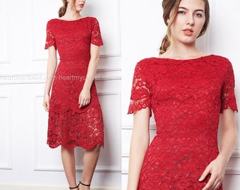 CAMILLE - red lace dress with ruffle bottom custom made